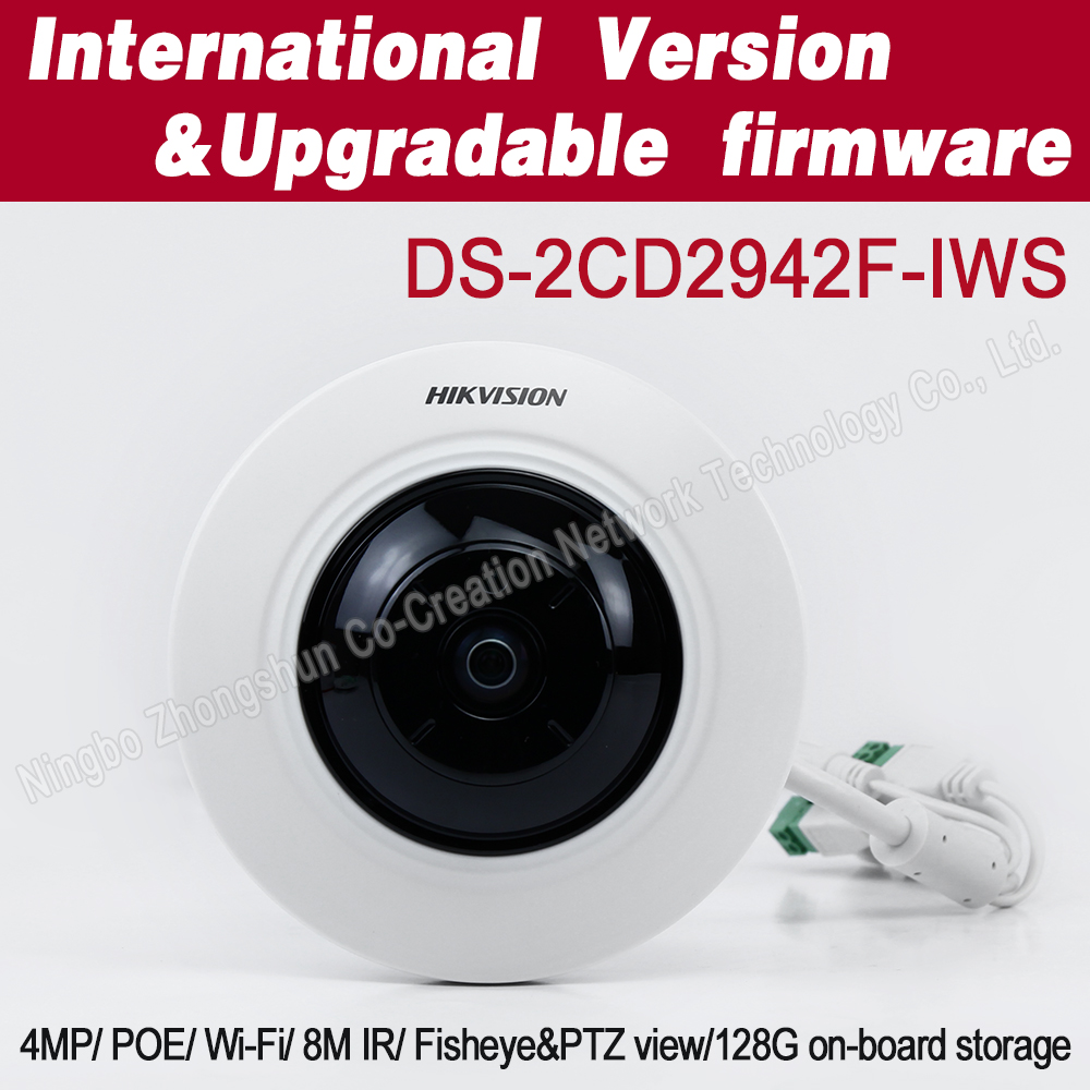 Hikvision English version 4MP Compact fisheye <strong>camera</strong> DS-2CD2942F-IWS mini <strong>camera</strong> wifi