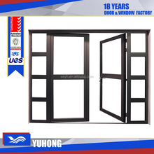 Wood grain grill design aluminum casement door