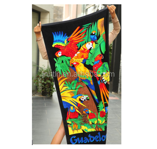 Reactive printed beach towel with OEKO TEX 100 STANDARD