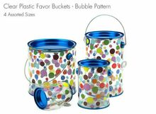 Clear Plastic Tin Lid Pattern Favor Paint Can Container Craft Buckets