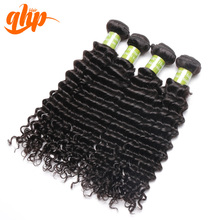 QHP Bonding machine deep wave cute curly in natural black color malaysian human hair extensions