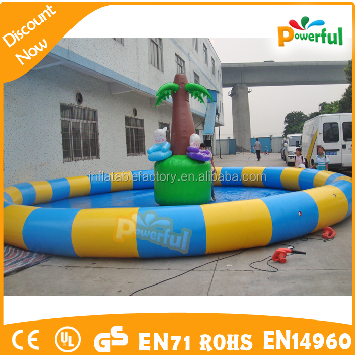 colorful rounded big inflatable pool/inflatable palm tree pool
