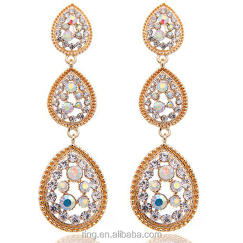 Fancy design new 2016 latest gold earring full diamond long earrings