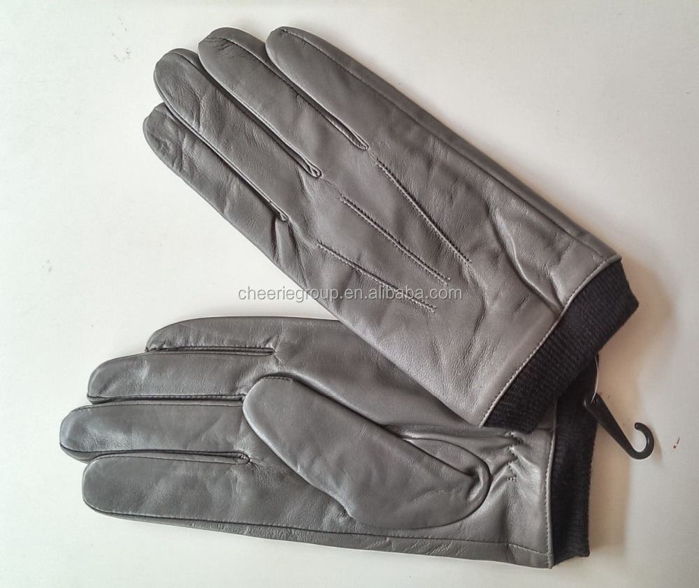 Gray colour 100% lamb skin leather touch screen gloves for men