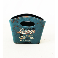 Lounge design deep blue PU leather basket for dvd storage, beautiful storage baskets