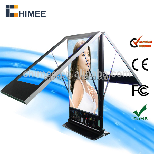 Double screen!2015 hot new product/durable using easy operated hd advertising photo video player/metal chassis custom