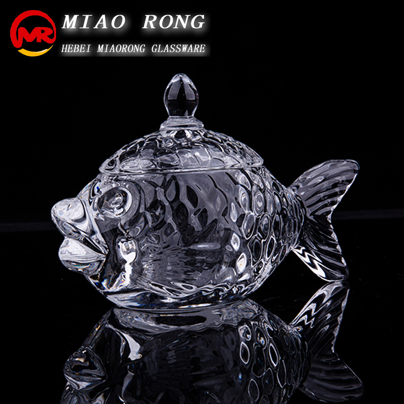 wholesale animal fish shape glass candy jars with glass lid