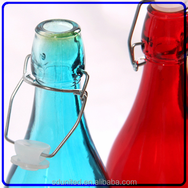 Beautiful color swing top glass bottle with stopper