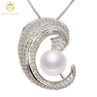 2016 hot sale girls gift real 925 silver freshwater pearl pendant necklace jewerly
