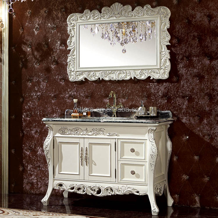 WTS6044 45 inch chassis European single Sink Bathroom Mirrored Cabinets With black natural marble top in white