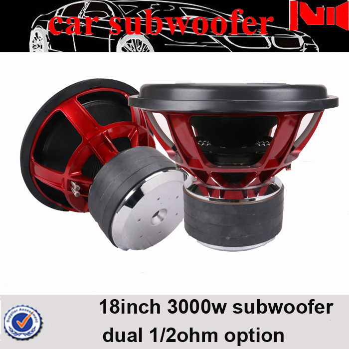 "big 18inch speaker with huge magnet motor dual 4"" CCA VC 3000 watt rms powered subwoofer"