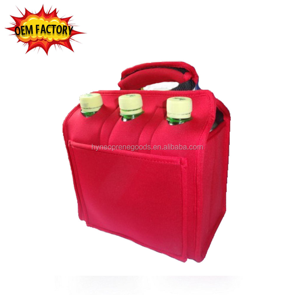 insulated neoprene 6 pack drink bottles cooler tote bag with handle