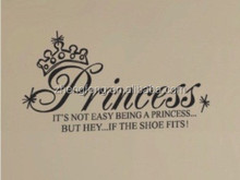 (N407) [l] <span class=keywords><strong>princesa</strong></span> y corona kid wall sticker para sala <span class=keywords><strong>de</strong></span> decoracion