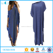 Sexy Women Stripe Off Shoulder Irregular Loose Casual Summer Top Beach Kaftan Maxi Dress