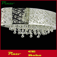 "32"" Web Modern Laser Cut Shade Crystal Oval Flush Mount Chandelier Stainless Steel 8 Lights"