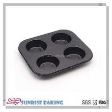 Carbon steel non-stick 4cups round shaped muffin cake pans bakery tray
