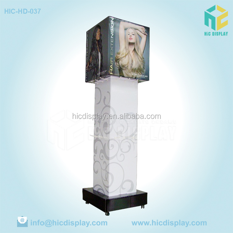 Rotating cardboard advertising hook display for hair extension