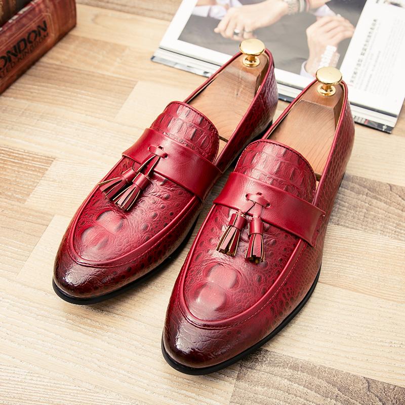 men winter italian fashion snake skin brogue leather oxford tassel slip on pointed toe shoes designer male formal cool footwear  (42)