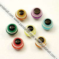 Evil Eye Resin Beads, Flat Round(RESI-R039-M)