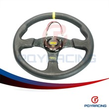 PQY STORE- NEW 14inch 350mm Real Leather Flat Rack Corn Drifting Steering Wheel with black box PQY-SW71ZP
