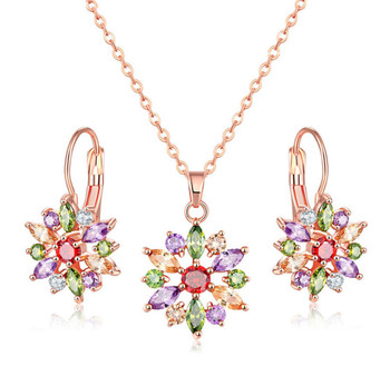 Austrial Crystal luxury wedding jewelry indian cubic zirconia jewelry necklace set for braid