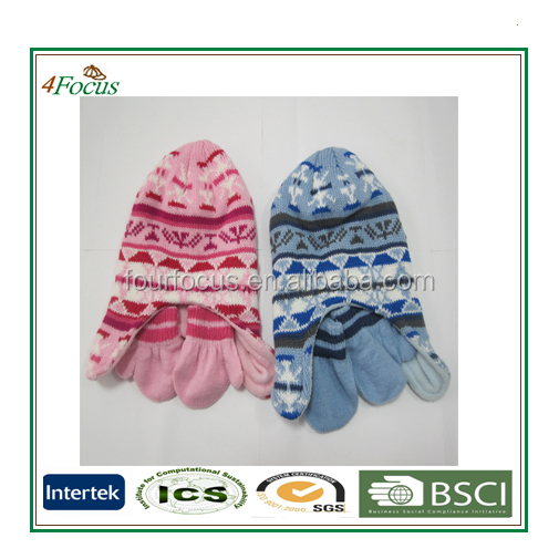 fashion winter 100%acrylic knitted scarf hat and gloves sets