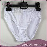 Nice lace waist woman high waist shiny nylon panties