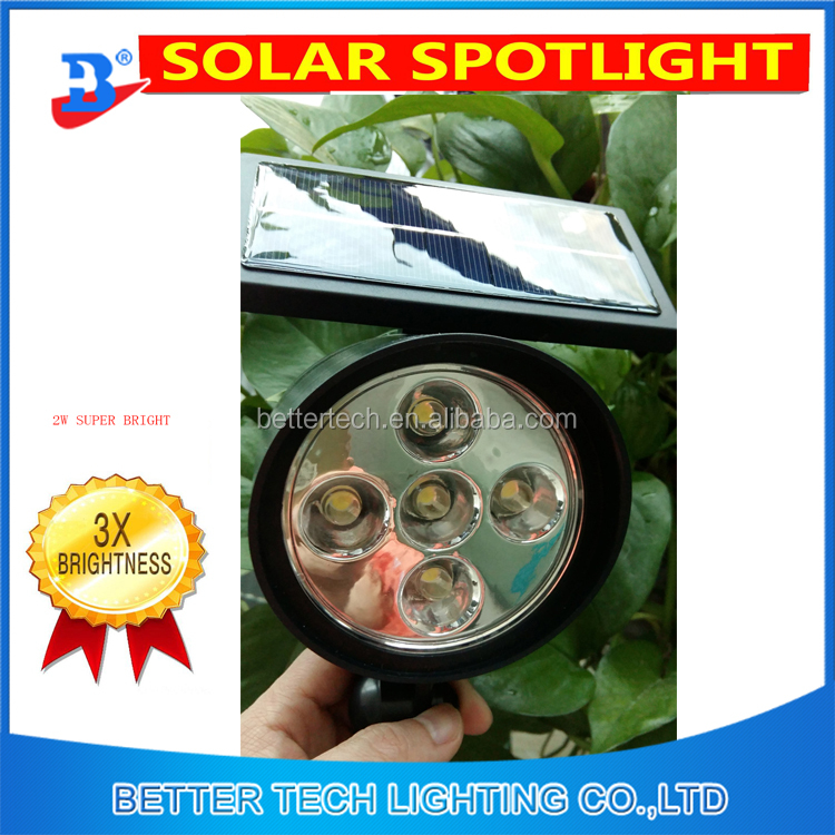 2016 new manufacturer China spot lights led garden lights by solar power spotlight by solar with 2.5w power lighting