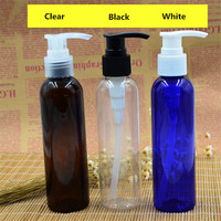 Empty Wholesale 150ml Amber Clear Blue Green plastic PET 150ml lotion bottle with locked lotion pump