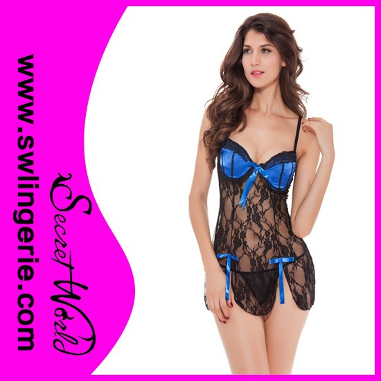 2013 lace korean black girls nighty sexy wear lingerie
