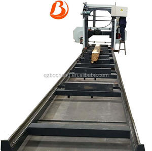 High production portable electric horizontal band sawmill for wood timber cutting