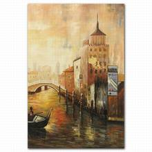 Hand painted abstract city rivulet oil painting venice italy landscape oil painting
