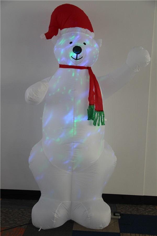 Inflatable giant desco led white bear wear red hat 2017