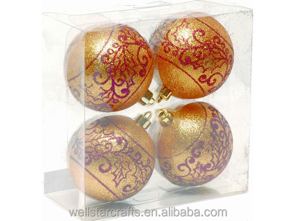 Custom Glitter Craft for PS in box 4*80mm Christmas Ball Ornament