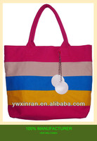 pink blue gray yellow Striped Cotton Beach Bag red tote