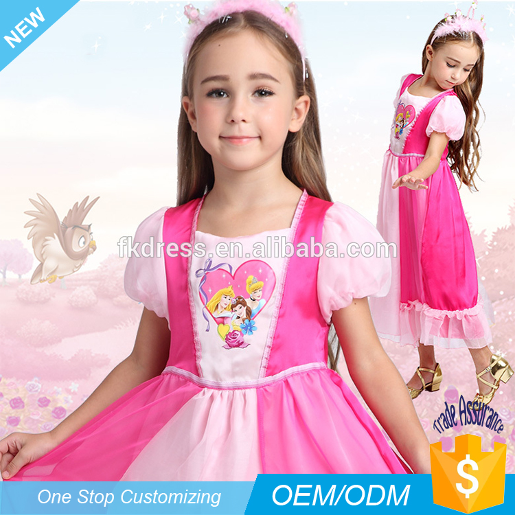Wholesale Children Sleeping Beauty Pink Girls Nightgown princess wear Pajamas For kids Dress