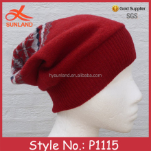 P1115 red knitted man beanie hat winterman beanie hat pattern selling