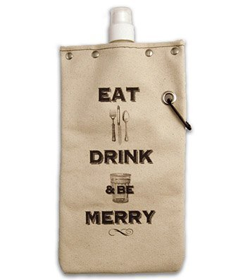 Wine and Beverage Canvas Reusable Flask Bottle & Tote Carrier 750ml