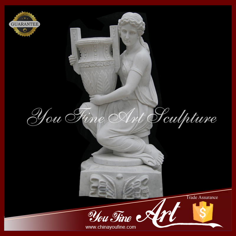 Graden Decoration White Marble Female Statue with Vase