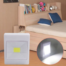 Battery Operated 3W COB LED Wall Switch Wireless Closet Cordless Night Light