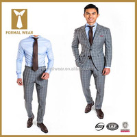 Latest Fashion Window Pane Custom Tailored Men Suit Neck Design