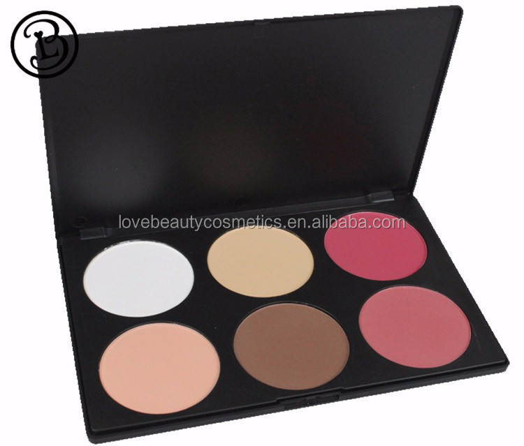 Wholesale 6 colors blusher palette with logo printing