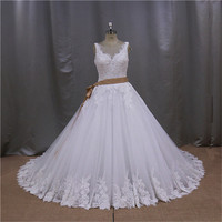 Queenly great mermaid white lace green wedding dress