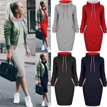 Autumn winter long sleeve neck tight dress hoodie sweater who dresses for women