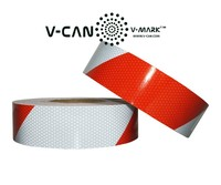 Micro Glass Bead Reflective Strip, White and Red Diagonal Reflective Tape, High intensity Grade Reflective Band, HI-DIN-30710