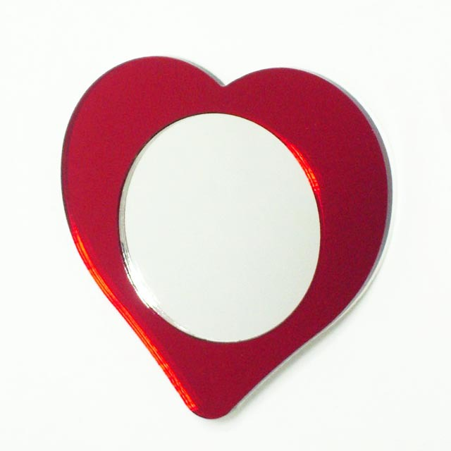 Red heart shape glass fridge magnet mirror