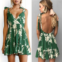 Free Shipping Hot Sexy Backless Dress Womens Print Sleeveless Zippers Dresses High Quality