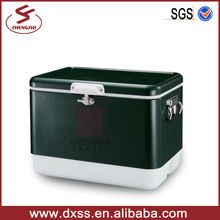 Stainless steel dry ice box with plastic cooler insert