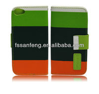 Best seller stripe wallet case for iphon 5 flip case/ten years experience factory wholesale cheap iphon 5 cover