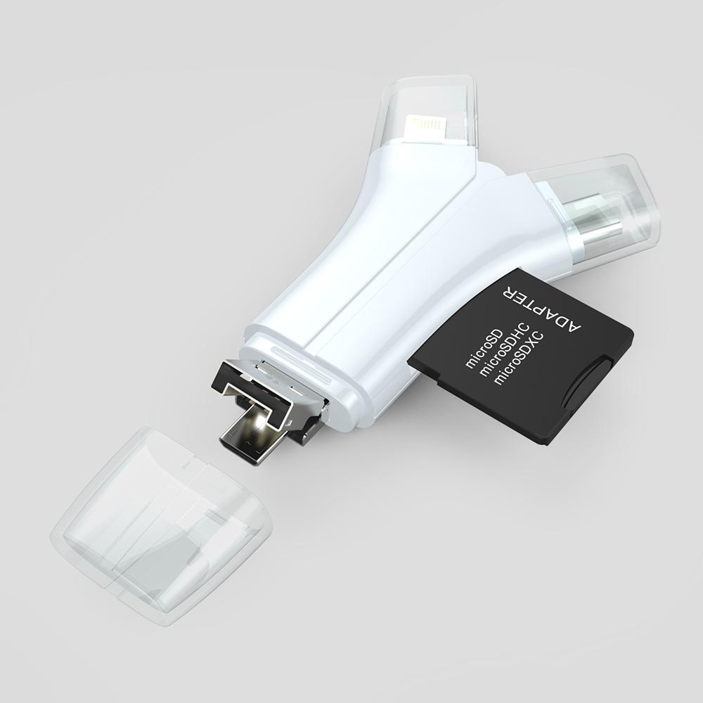 manufacturer 4 in 1 OTG smart card reader for mobile type c for iPhone 6 7 and laptop memory card adapter
